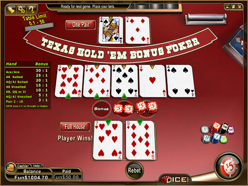 Texas Hold'em Bonus Poker Room With Best Winning